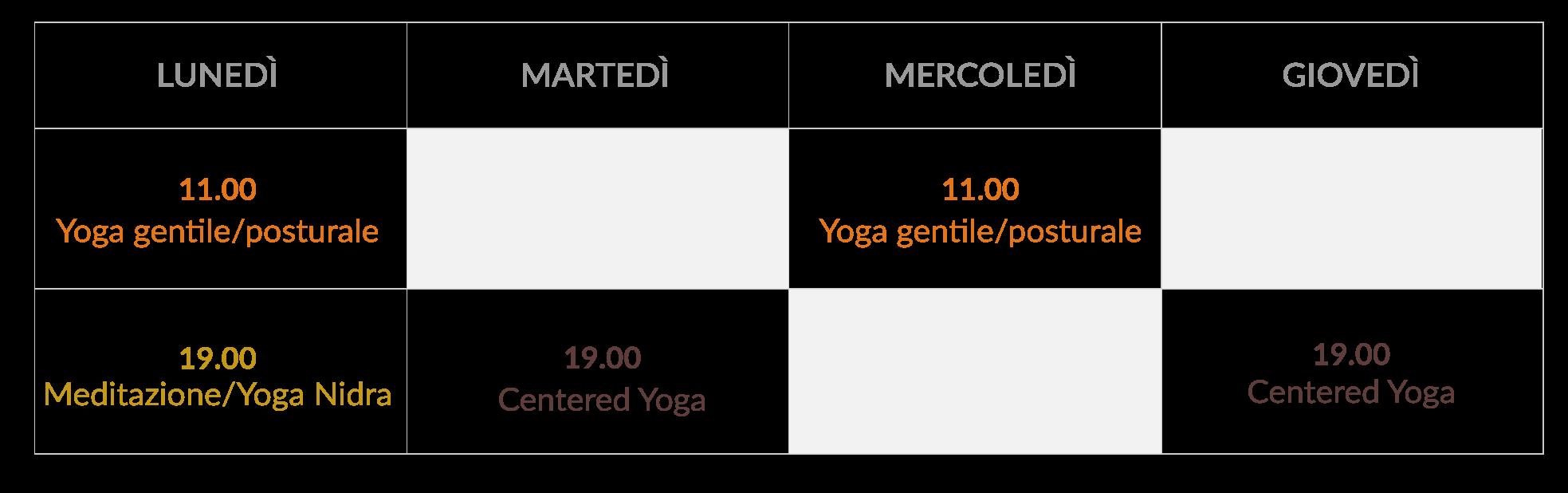 tabella orari lezioni di yoga online